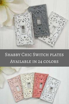 Light Switch Plate-24 Colors/Shabby Chic/Light Switch Cover/Switchplates/Switch Plate/Vintage Light Switch/The Shabby Store/Nursery #farmhouse #shabbychic #etsy #ad
