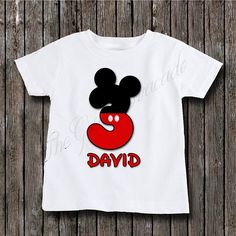 Boys Mickey Mouse Birthday Number Onesie Or Shirt