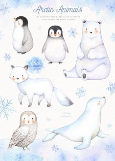 Arctic Animals Watercolor Clip Arts Winter Holiday Set Polar Animals Rabbit Squirrel Nursery Decor New Year Greeting Card Christmas Woodland Animal Nursery, Woodland Animals, Forest Animals, Polar Animals, Cute Animals, Bear Animal, Animal Drawings, Cute Drawings, Drawing Sketches