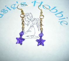 Handmade Hook Chain Dangle Earrings with Purple Star and Bead/lightweight #Handmade #DropDangle
