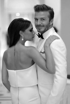 Victoria Beckham (wearing own design( & David Beckham (Ralph Lauren - Black Label), Met Gala 2014.