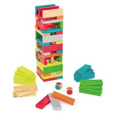 This great set of wood rectangular pieces measuring 3 inches X 3 inches X 13 inches come in a variety of beautiful colors.   The aim of this game is to be the l