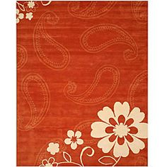 @Overstock.com - Hand-tufted Orange Oriental Wool Rug - Hand-tufted of beautiful wool, this rug features bold, eye-catching design. A beautiful ivory flower and light paisleys complete this orange area rug.   http://www.overstock.com/Home-Garden/Hand-tufted-Orange-Oriental-Wool-Rug/5316426/product.html?CID=214117 $220.14