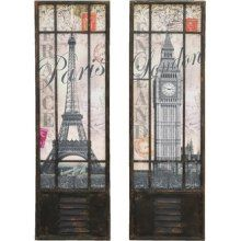 $76 UMA Enterprises London and Paris Tourist Destination Wall Panel