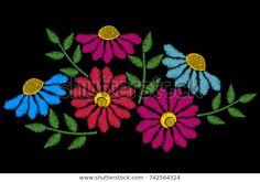 Embroidery Stitches Imitation Ethnic Floral Pattern Stok Vektör (Telifsiz) 742564324 Embroidery Stitches, Ethnic, Images, Floral, Pattern, Florals, Patterns, Model, Flower
