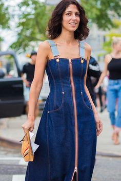 Yasmin Sewell in a denim dress