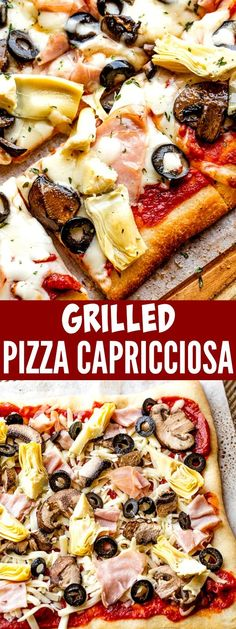 This Grilled Pizza Capricciosa is an easy homemade pizza recipe that uses all your favorite ingredients. You'll love everything about this simple Italian dinner idea! Flatbread Recipes, Pizza Recipes, Refrigerated Pizza Dough, Cheesy Breadsticks, Easy Homemade Pizza, Italian Dinner Recipes, Thin Crust Pizza, Grilled Pizza, Dessert Pizza