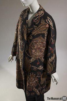 Coat | Dries Van Noten (Belgian, b. 1958) | Black linen, wool, cotton, gold bullion, and sequins | Belgium, Winter 2006/2007 | The Museum at FIT