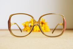 658cc221e168 Vintage Christian Dior Eyeglasses 1970s Glasses New Old  Stock hipster retro disco frames Oversize Honey Tone and Red Germany optyl