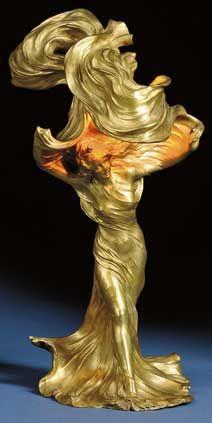 """Francois-Raoul Larche, Art Nouveau   gilt bronze """"Loie Fuller"""" figural lamp"""
