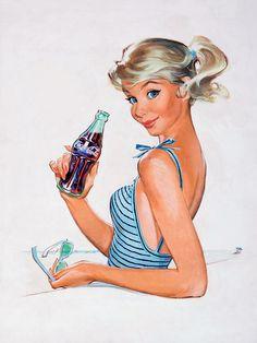 Pete Hawley- pin up girl art coca cola ad Coca Cola Vintage, Coca Cola Poster, Coca Cola Ad, Always Coca Cola, Coke Ad, Pepsi, Pin Ups Vintage, Art Vintage, Vintage Pins