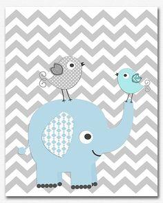 Blue and grey elephant baby boy nursery art Print - - boys art print, baby boy wall art, chevro Elephant Baby Rooms, Elephant Art, Grey Nursery Boy, Nursery Art, Scrapbooking Image, Image Deco, Baby Boy Themes, Boy Wall Art, Baby Posters
