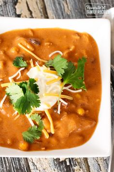 This Instant Pot Chicken Enchilada Soup can be thrown together in a pinch and is ready to eat in about 30 minutes. One pot. One mess. One delicious meal. via Favorite Family Recipes Chili's Chicken Enchilada Soup, Recipes With Enchilada Sauce, Chicken Enchiladas, Chicken Soup, Best Instant Pot Recipe, Instant Pot Dinner Recipes, Instant Pot Pressure Cooker, Pressure Cooker Recipes, Pressure Cooking