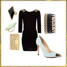 Black, Gold, Light Blue Outfit  Featuring Luichiny - Day Ze in Mint IM Leather
