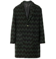 AMI Chevron-Patterned Wool and Cashmere-Blend Coat