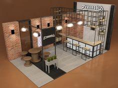 Nowoczesne stoisko targowe, wyspowe, wolno stojące w loftowym i fabrycznym stylu dla miasta Żyrardów i Muzeum Miasta Żyrardów z wykorzystaniem eksponatów i rekwizytów historycznych.
