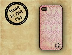 Personalized Iphone 5 case, Iphone 4 case - Soft pink grunge damask - plastic Iphone 4s cover, monogrammed iphone case (9941). $16.99, via Etsy.