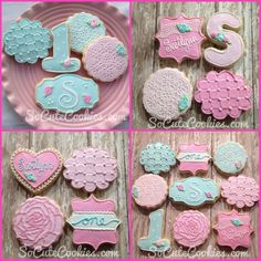 Shabby Chic 1st Birthday Party Cookies by Socutecookies.com