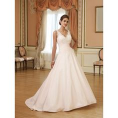 White Simple V-neck Wedding Dresses for Women Cheap A-line Lace Beaded Wedding Dresses 2010
