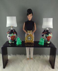 New Black Acrylic Sofa Back Table for Scale FR, Barbie, Poppy Parker Dolls Tiny Furniture, Barbie Furniture, Barbie Clothes, Barbie Dolls, Pink Barbie, Bjd Dolls, Fashion Royalty Dolls, Fashion Dolls, Black Acrylics