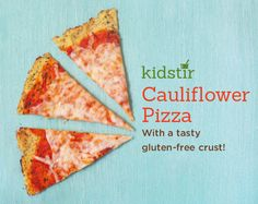 Cauliflower Pizza Skip the traditional pizza crust and try this cauliflower crust instead. It's gluten-free and a great way to eat up your veggies. Plus, cauliflower is loaded with vitamins and minerals (especially vitamin C! Easy Meals For Kids, Dinner Recipes For Kids, Kids Meals, Real Food Recipes, Snack Recipes, Kid Recipes, Delicious Recipes, Snacks, Cooking With Kids