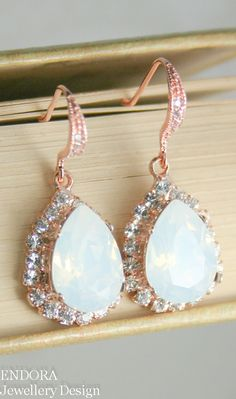 White opal rose gold Swarovski crystal teardrop earrings  - available in other colours | #EndoraJewellery