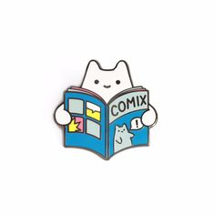 Comic Book Baby Cat Enamel Pin – Sparkle Collective