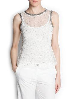 MANGO - Beaded embroidered tulle top