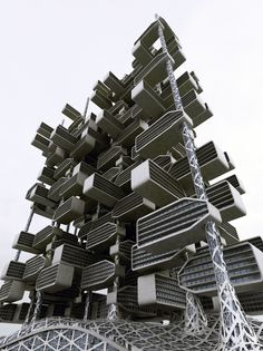 """Developed by IAMZ Design Studio and architect Ahmed Elseyofi, 'World of Chlorophyll' is a skyscraper concept based off of the natural structure of a plant. According to IAMZ, the project, """"imitates. Monumental Architecture, Amazing Architecture, Architecture Details, Modern Architecture, Leaf Structure, Natural Structures, Architecture Magazines, Amazing Buildings, Steel Buildings"""