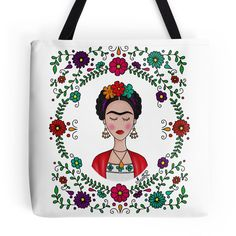 Frida Kahlo Tote Bag ($27) ❤ liked on Polyvore featuring bags, handbags, tote bags, lightweight handbags, white handbags, lightweight purses, lightweight tote and white purse