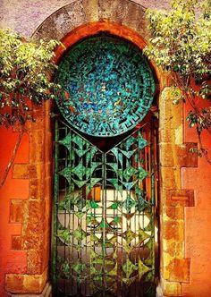 Mexico City, Mexico - love the gradient on the patina Grand Entrance, Entrance Doors, Doorway, Cool Doors, Unique Doors, When One Door Closes, Door Gate, Fence Gate, Closed Doors