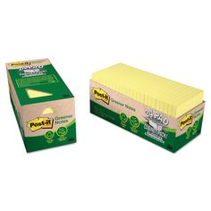 Post-it Greener Notes Recycled Note Pad Cabinet Pack, 3 x 3, Canary Yellow, 75-Sheet, 24/Pack