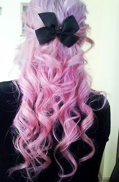 girl style wonderful bow amazing purple hair pink hair curly hair back hairstyle pastel goth