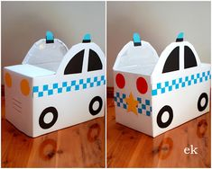 Tutorials are now available: {Part 1 – simple car} here and {Part 2 – larger truck} here. Last week I was expecting to make one vehicle for the little man out of a nappy box (diaper b… Cardboard Car, Cardboard Box Crafts, Cardboard Playhouse, Cardboard Furniture, Preschool Crafts, Crafts For Kids, Preschool Decorations, Junk Modelling, Kids Homework