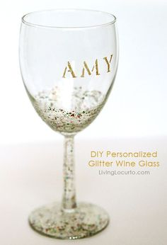 How to make a Personalized DIY Glitter Wine Glass. SO EASY! Tutorial by Amy Locurto LivingLocurto.com