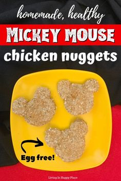 This is an egg-free, baked chicken nugget recipe made from scratch and inspired by Mickey Mouse Healthy Breakfast For Kids, Healthy Meals For Kids, Quick Easy Meals, Kids Meals, Healthy Recipes, Easy Recipes, Healthy Food, Homemade Chicken Nuggets, Chicken Nugget Recipes