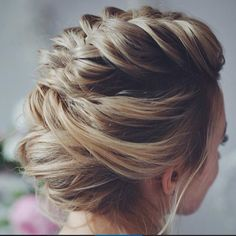 French braid mohawk with bun updo