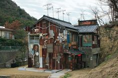 Shinro Ohtake, Haisha (dentist), 2006. A structural and graphic intervention has turned this old dentist's house-office into a sculpture. It is one of the works in the Art House Project on the island of Naoshima, Japan,