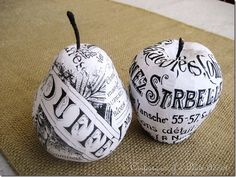 French Script Mod Podge Fruit from Confessions of a Plate Addict Easy Crafts, Arts And Crafts, Paper Crafts, Foam Carving, French Script, French Country Cottage, Funky Junk, So Little Time, Have Time
