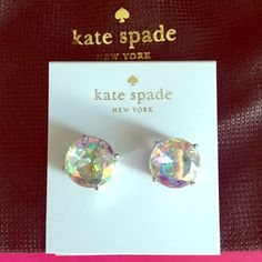 """♠️Kate Spade New York Gumdrop Stud Earrings ♠️Kate Spade New York Large Gumdrop Stud Earrings, silver-tone with gorgeous sparkly Aurora Boreallis iridescent stones, approx 1/2"""" diameter, these earrings are stunning!!!! Comes with Kate Spade drawstring jewelry gift pouch, Brand New with Tag, Never worn ❌NO TRADES❌ BUNDLE & SAVE‼️ kate spade Jewelry Earrings"""