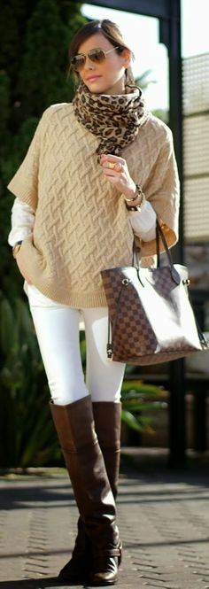 Hi stylist--This IS perfectly me!  (NEED) Cheetah print scarf, love beige jumper over white long sleeved tee, white jeans (NEED) and long tobacco boots, with LV bag (HAVE)!