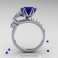 Art Masters 950 Platinum 3.0 Ct Blue Sapphire Dragon by artmasters