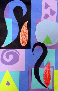Project #1.  Cutting lines to make shapes.  Geometric and free form shapes, collage.  I Love. . .Collage.  Matisse.