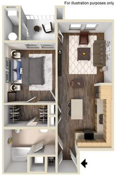 Shetland Floor Plan 705 sq ft http://www.gatewayat2534.com/