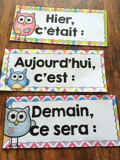 Yesterday it was, today it is, tomorrow it will be. French Language Lessons, French Language Learning, French Lessons, Teaching French, French Education, Kids Education, French Classroom Decor, French Flashcards, French Tips