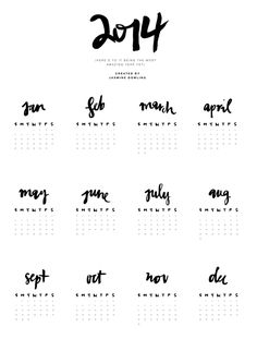 just perfect for my project life 2014 album Project Life, New Year Calendar, Calendar 2014, Free Calendar, Calendar Printable, Kalender Design, Midori, Grafik Design, Graphic Design Typography