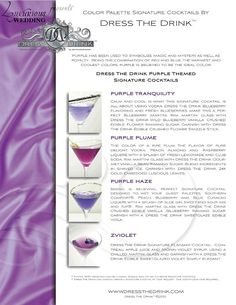 Purple Signature Cocktails for Weddings | Purple Couture Cocktails | Dress The Drink by Luxurious Wedding .com