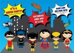 Super Hero Invitation Kids Super Hero by AnnounceItFavors on Etsy, $15.00