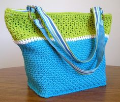 Bright blue white and kiwi green tote bag by RobinsFlight on Etsy.