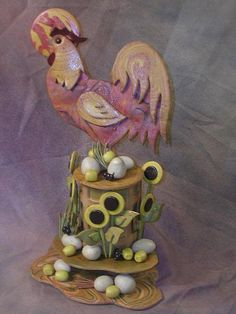 Rooster Bread Sculpture (go to http://www.breadhitz.com/recipespro2.html for template - dead dough used)